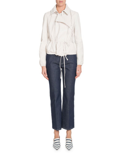 Wide-Leg Cropped Jeans w/ Topstitching  and Matching Items
