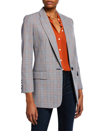Jeanne One-Button Checkered Blazer and Matching Items