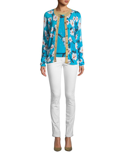 Short-Sleeve Floral-Print Pullover Top w/ Metallic Trim and Matching Items