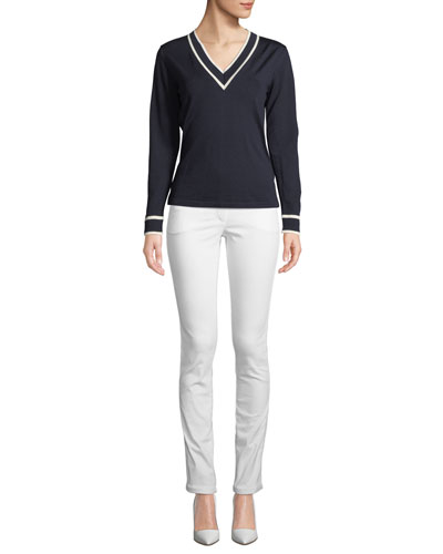V-Neck Long-Sleeve Wool Sweater w/ Contrast Tipping and Matching Items