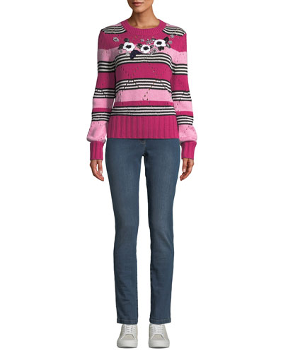 Floral-Beaded Crewneck Striped Wool-Cashmere Pullover Sweater and Matching Items