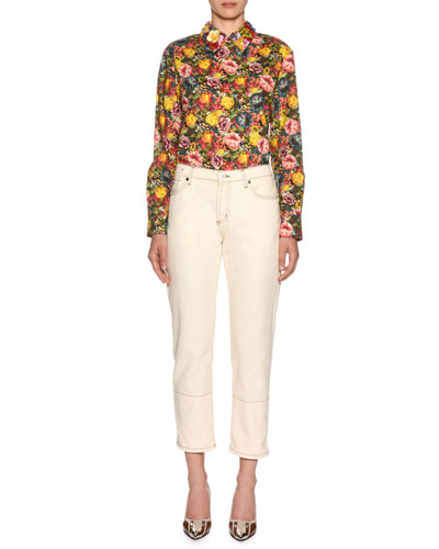 Embellished-Collar Long-Sleeve Zip-Back Floral-Print Blouse and Matching Items
