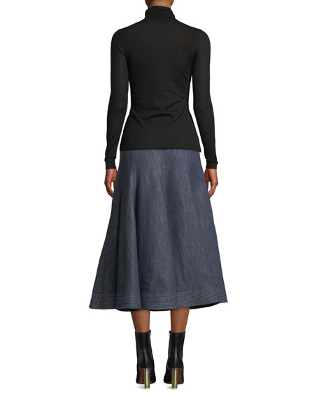 Gabriela Hearst Costa Long-Sleeve Turtleneck Thin-Rib Cashmere-Silk Sweater