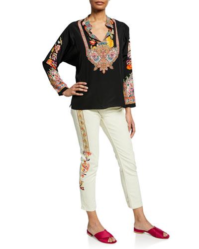Mandarin Collar Engineer-Striped Shirt and Matching Items