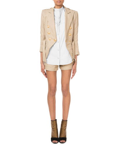 Double-Breasted Belted Safari Blazer and Matching Items
