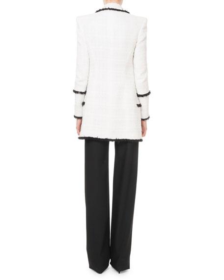 Balmain Square-Neck Button-Shoulder Ribbed Top