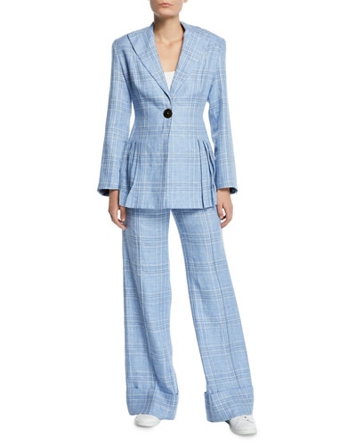 Suit Yourself Linen Check Peplum Blazer and Matching Items
