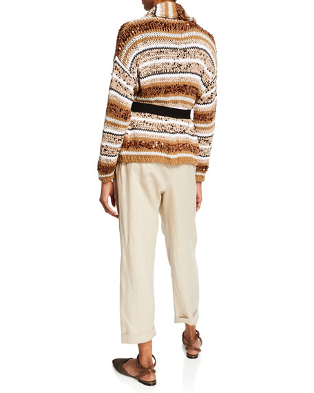 Brunello Cucinelli Sequined Striped Belted Cardigan