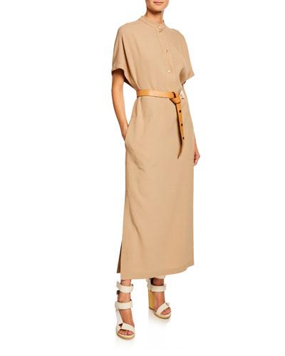 Short-Sleeve Button-Front Wool-Cady Kaftan Maxi Dress and Matching Items