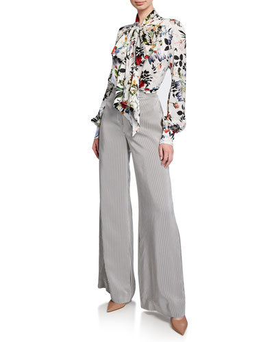 Lucien Tie-Neck Long-Sleeve Floral-Print Silk Blouse and Matching Items