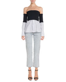 Victoria Victoria Beckham High Waist Five Pocket Straight Leg Light Wash Jeans  And Matching Items by Victoria Victoria Beckham