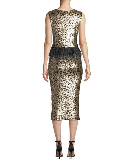 Le Superbe Liza Pull-On Sequin Leopard-Print Midi Skirt