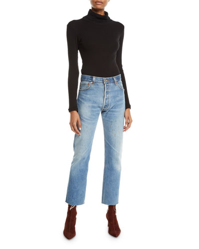 High-Rise Whiskered Stovepipe Jeans with Raw-Edge Hem and Matching Items