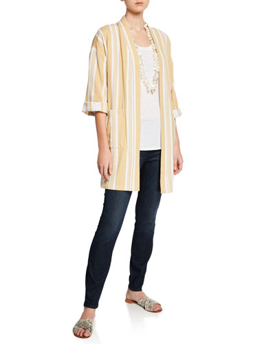 Striped Open-Front Double-Weave Cotton Kimono Jacket and Matching Items  Petite