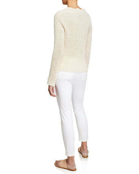 Eileen Fisher V-Neck Long-Sleeve Textured Tape-Yarn Sweater