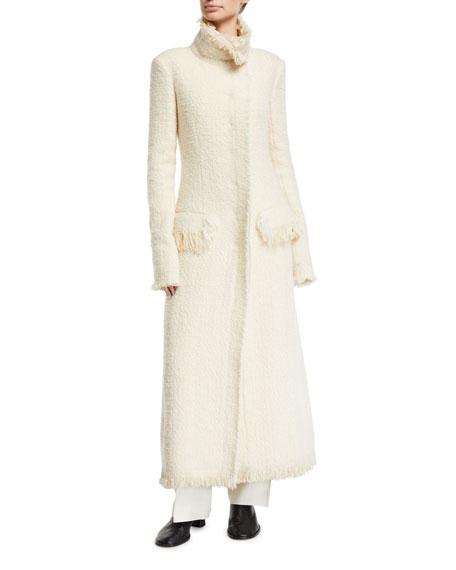 THE ROW Patona Long Fringe-Trimmed Tweed Coat