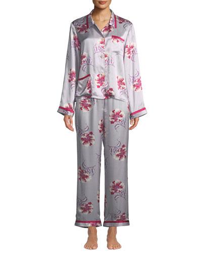 Esmeralda Ruthie Floral-Print Silk Pajama Top and Matching Items
