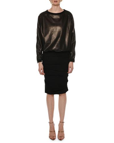 Zip-Sleeve Leather Sweatshirt and Matching Items