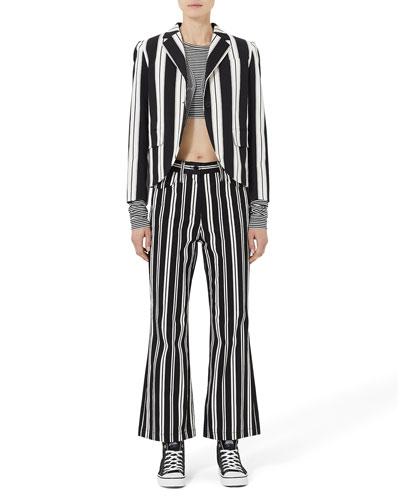 Mini-Striped Long-Sleeve Crop Top
