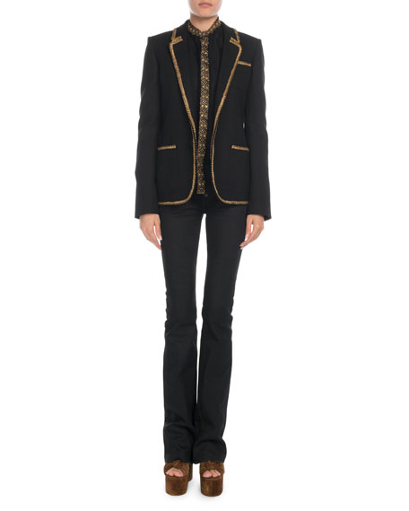 Saint Laurent Golden-Trim Wool Blazer