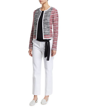 e11ea971c683 St. John Collection Amelia Knit Tweed Jacket with Contrast Binding Satin  Silk Georgette Sleeveless Top