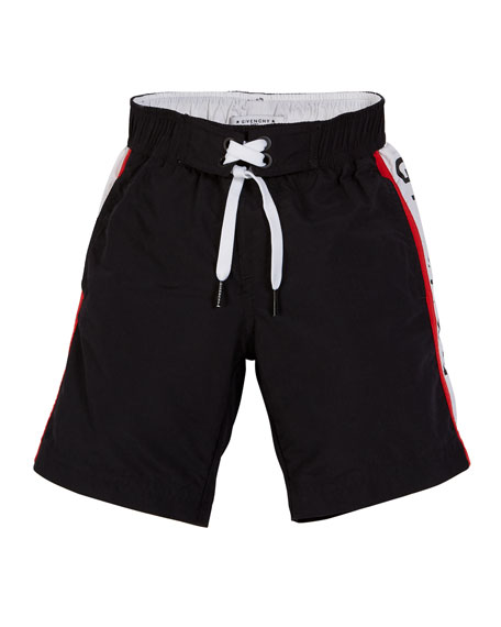 Givenchy Logo-Sides Swim Trunks, Size 12-14