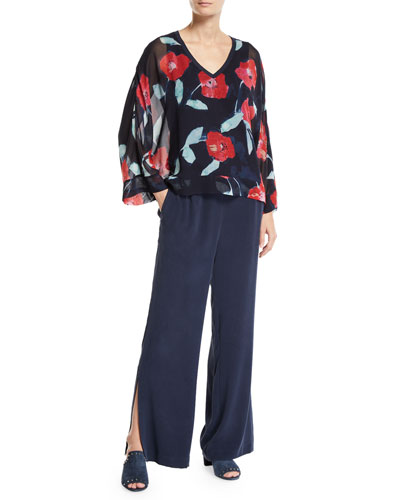 Long-Sleeve V-Neck Floral-Print Kimono Blouse  and Matching Items