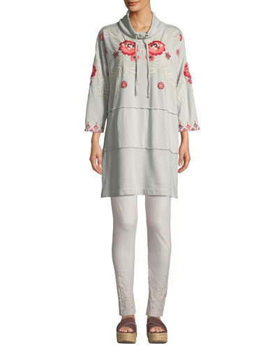 Maya Mock-Neck French-Terry Sweatshirt Dress w/ Embroidery and Matching Items