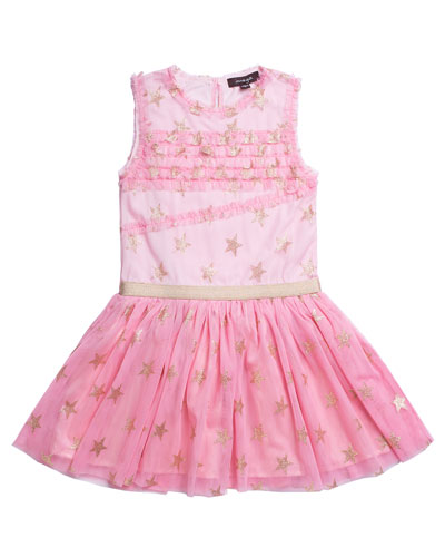 Glitter Star Ruffle-Trim Mesh Dress  Size 4-6  and Matching Items