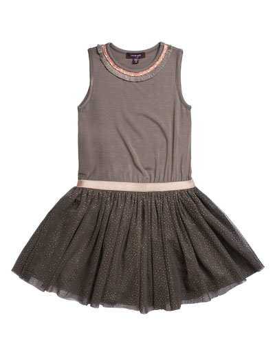 Solid Jersey & Glitter Mesh Dress  Size 4-6  and Matching Items