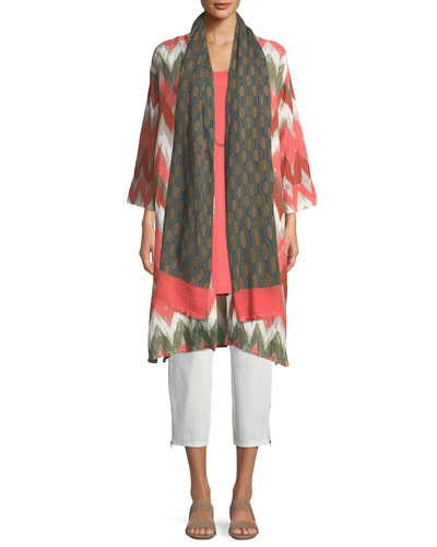 Long Zigzag-Print Shantung Long Jacket and Matching Items