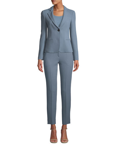 Waffle-Weave One-Button Blazer and Matching Items