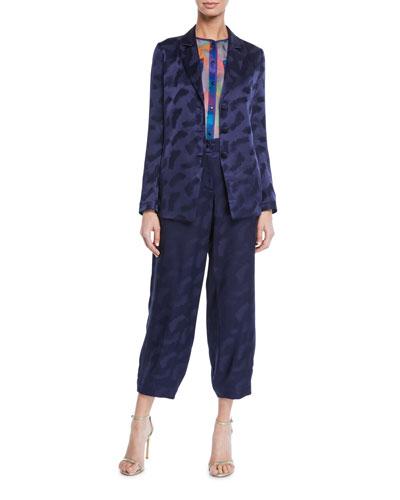 Twilight Brushstroke Jacquard Crisscross-Back Blazer and Matching Items
