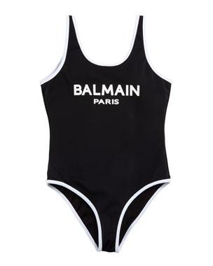 a8f1a5a726 Balmain Two-Tone Logo One-Piece Swimsuit, Size 4-10 Two-