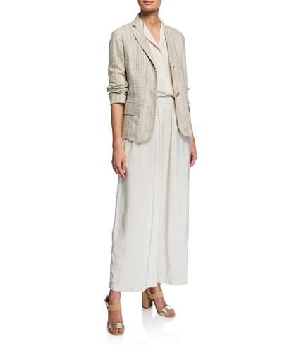 Pinstripe Boxy Organic Cotton Jacket and Matching Items