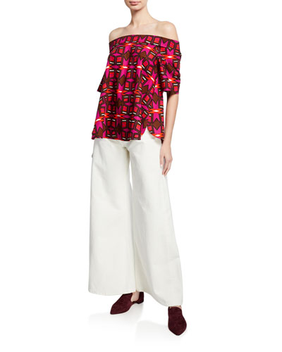 Off-the-Shoulder Short-Sleeve Geometric-Print Cotton Poplin Top and Matching Items