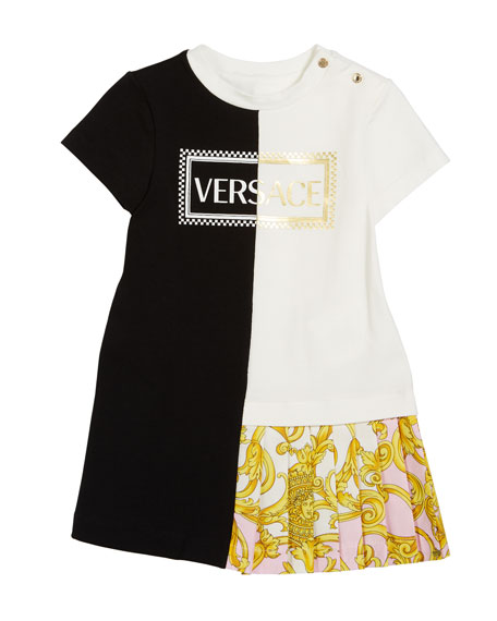 Versace Mixed Jersey Barocco-Print Dress, Size 18-36 Months