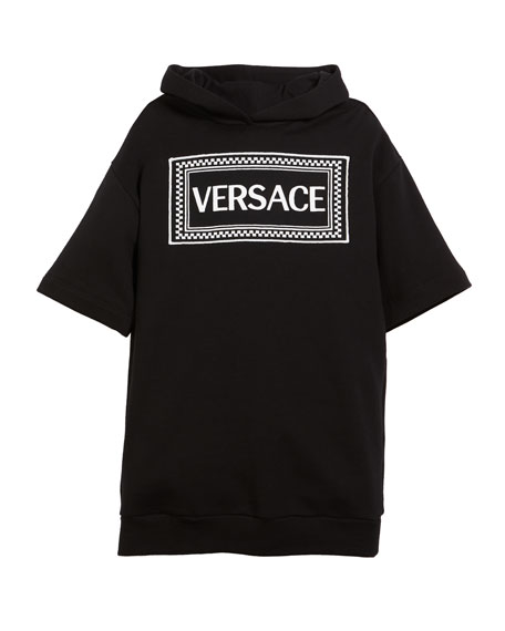 Versace Hooded Sweatshirt Logo Dress, Size 4-6