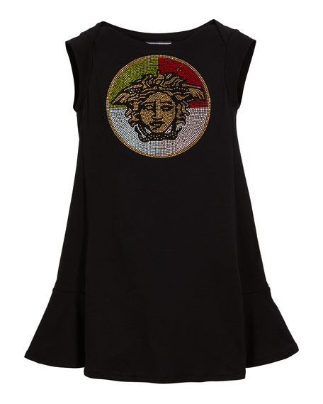 Versace Multicolored Stud Medusa Logo Dress, Size 4-6