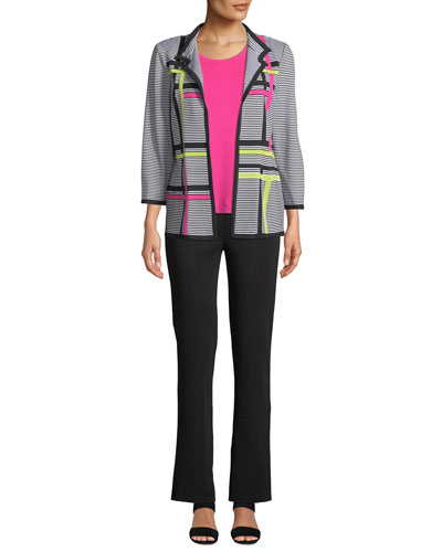 Striped 3/4-Sleeve Hook-Front Graphic Knit Jacket and Matching Items