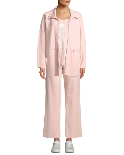 Mock-Neck Long-Sleeve Zip-Front Stretch Interlock Jacket w/ Zip Pockets and Matching Items
