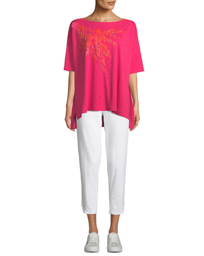Boat-Neck Short-Sleeve Big Tee w/ Floral Applique & Beading  Petite and Matching Items
