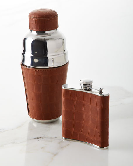 Graphic Image Croco-Embossed Leather Flask