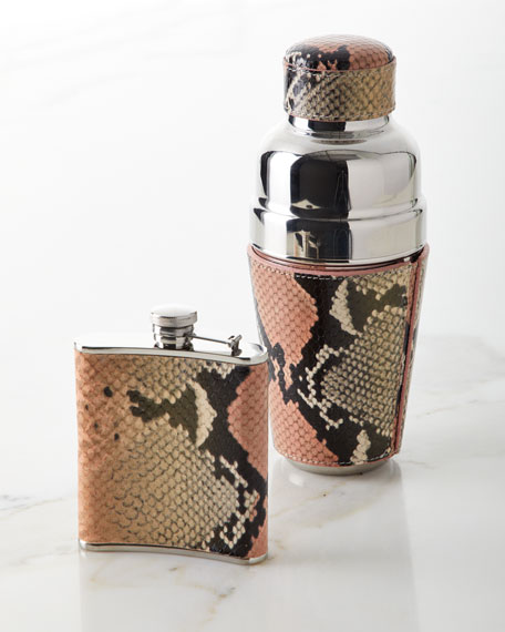 Graphic Image Snake-Embossed Leather Flask