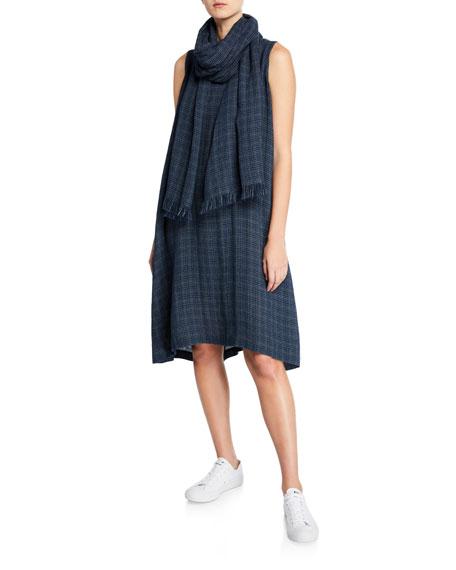 Eskandar Grid-Woven Linen Sleeveless Midi Dress