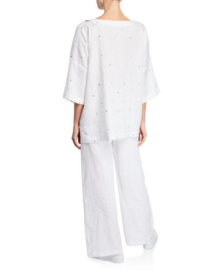 Eskandar Circle-Embroidered Longer Back T-Shirt
