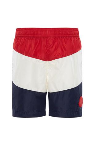 Moncler Colorblock Swim Trunks, Size 4-6 Colorblock Swim Trunks, Size 8-14