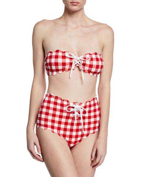 Marysia Antibes Scalloped Tie Bandeau Bikini Top