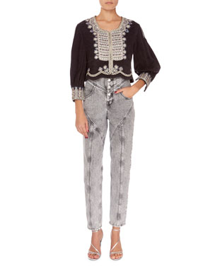 d0dae19bc89 Isabel Marant Amity Embroidered Crop Jacket Rei High-Waist Straight-Leg  Acid Wash Jeans