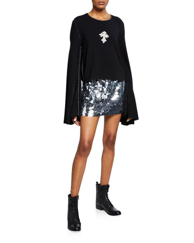 Sequined-Cross Bell-Sleeve Sweatshirt and Matching Items